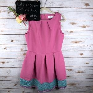 Closet London pink pleated sleeveless fit & flare